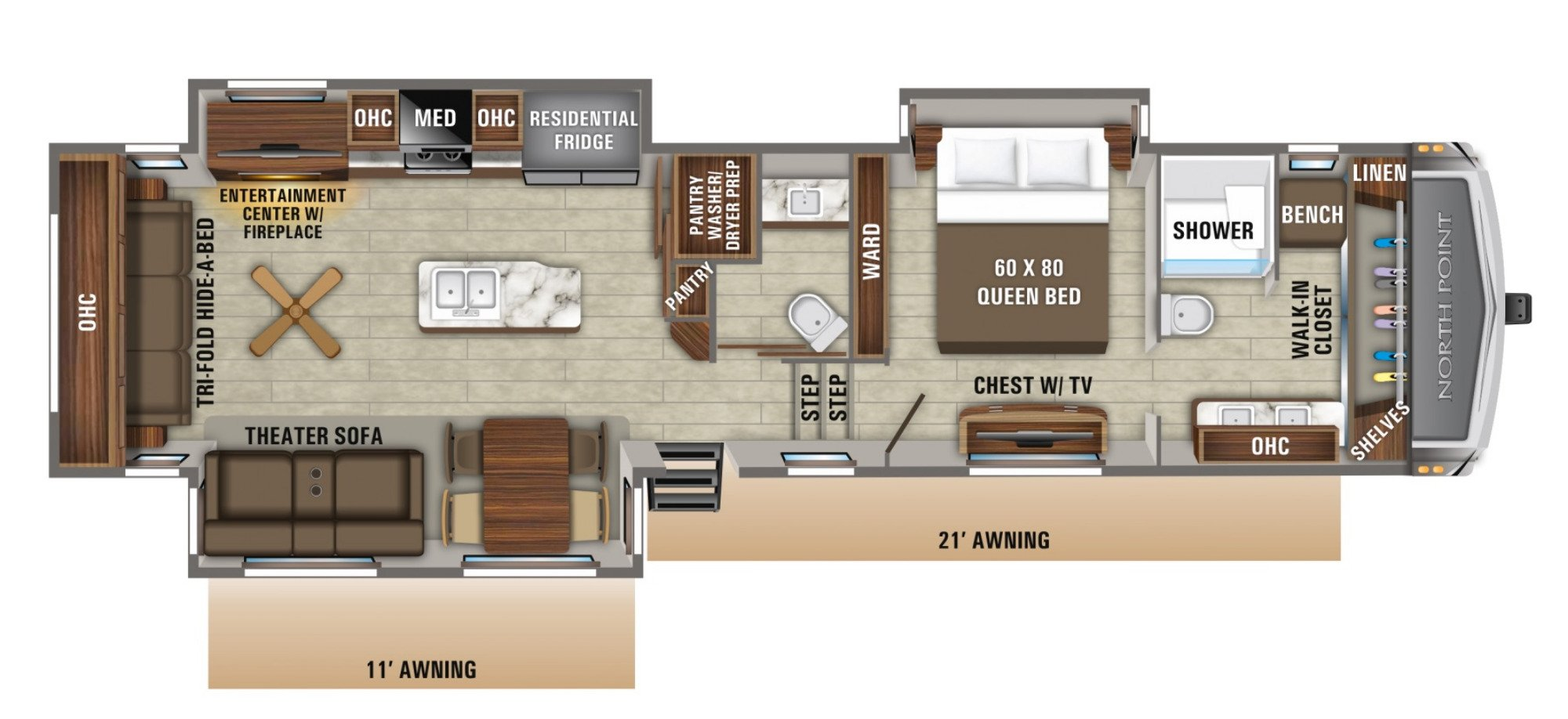 View Floor Plan for 2021 JAYCO NORTH POINT 387FBTS