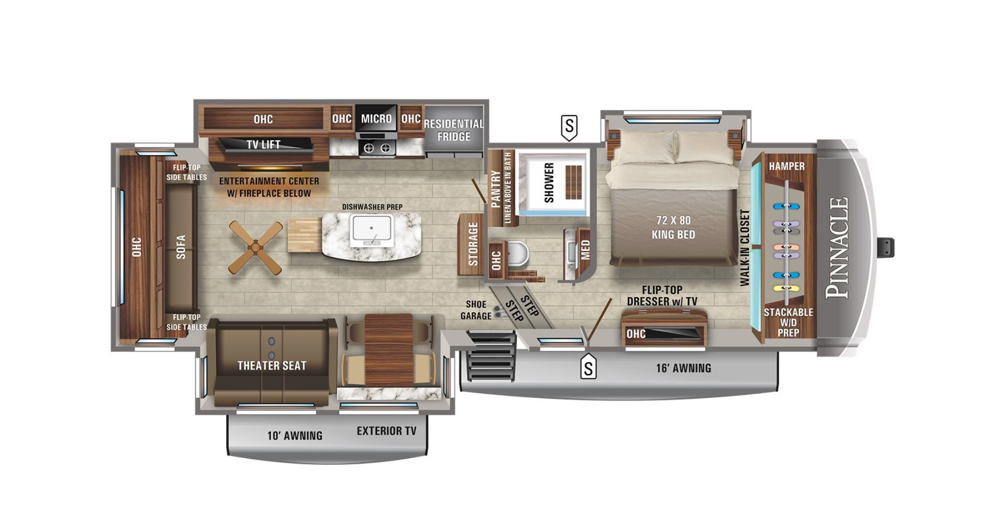 View Floor Plan for 2021 JAYCO PINNACLE 32RLTS