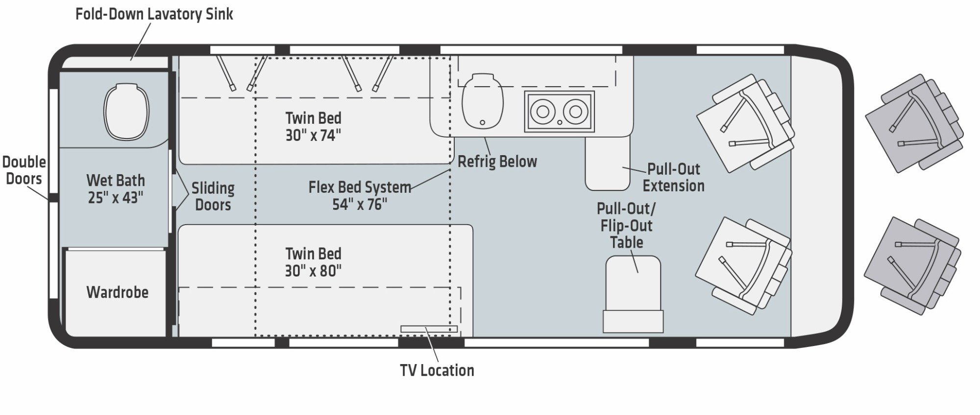 View Floor Plan for 2021 WINNEBAGO TRAVATO 59K