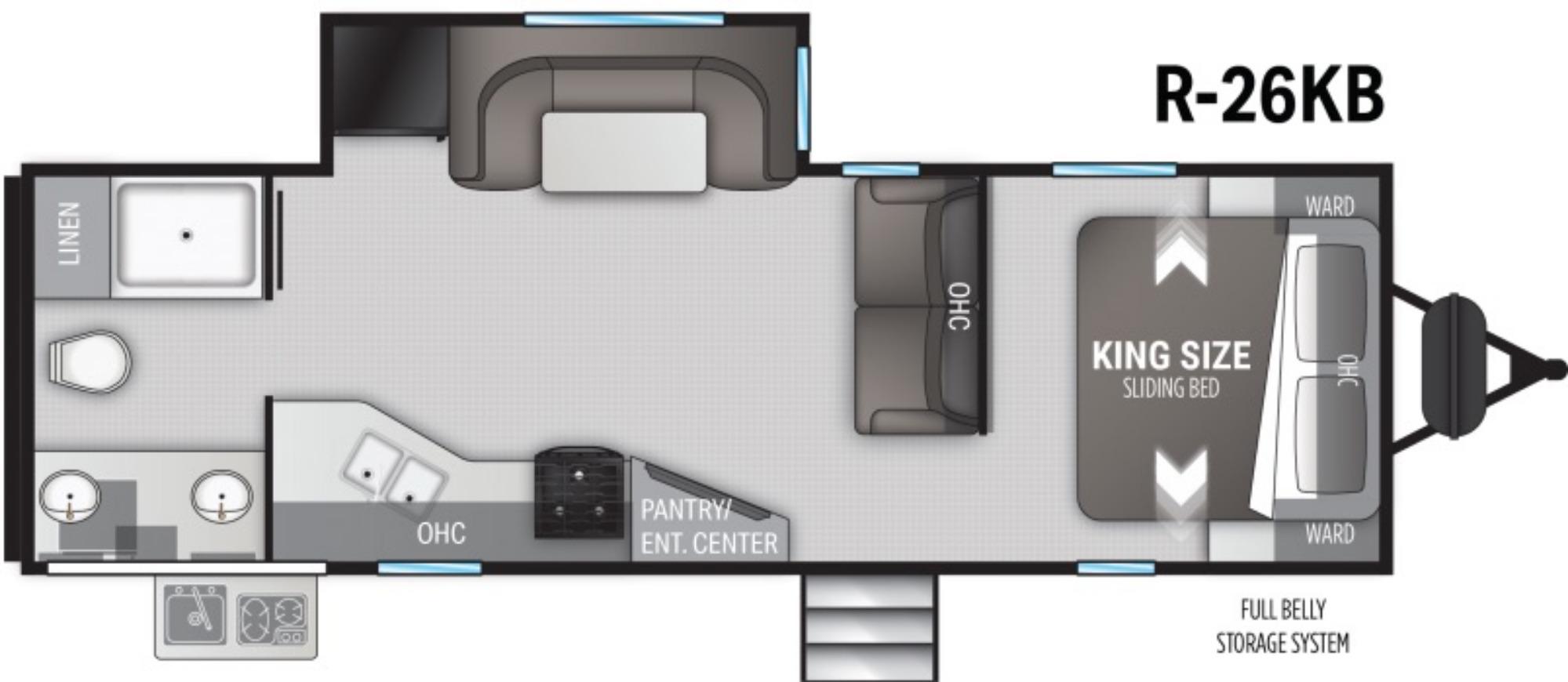 View Floor Plan for 2021 CRUISER RV RADIANCE 26KB