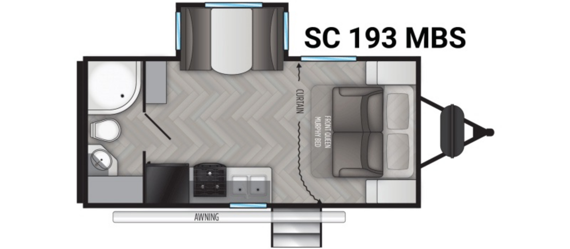 View Floor Plan for 2021 CRUISER RV SHADOW CRUISER ID193MBS