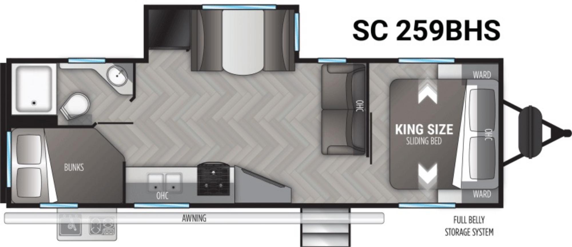 View Floor Plan for 2021 CRUISER RV SHADOW CRUISER ID259BHS