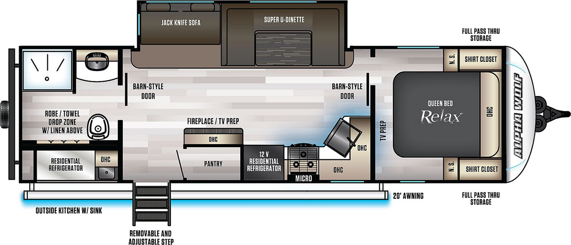View Floor Plan for 2021 FOREST RIVER ALPHA WOLF 26RB-L