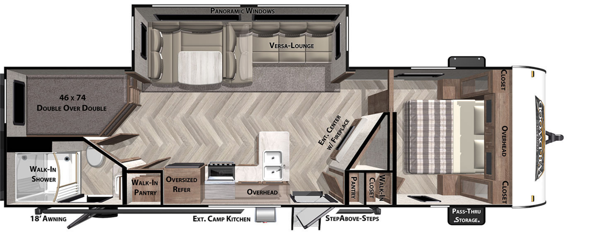 View Floor Plan for 2021 FOREST RIVER WILDWOOD 26DBUD