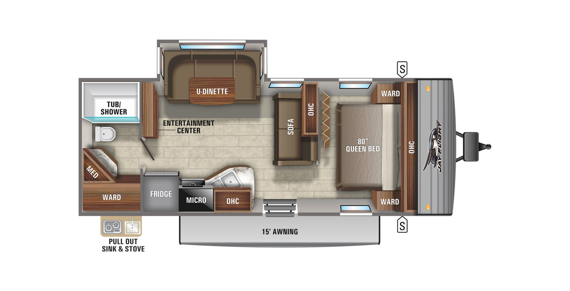 View Floor Plan for 2021 JAYCO JAY FLIGHT 24RBS