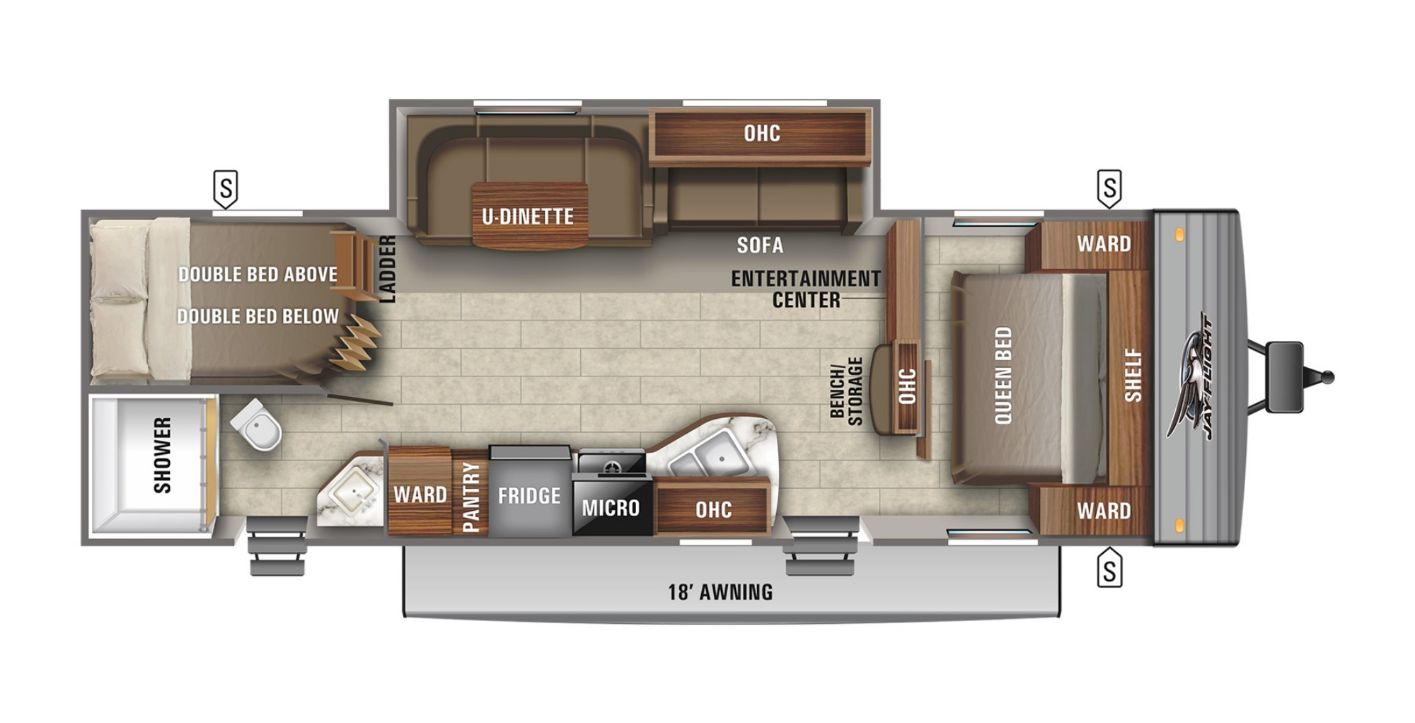 View Floor Plan for 2021 JAYCO JAY FLIGHT SLX 287BHSW