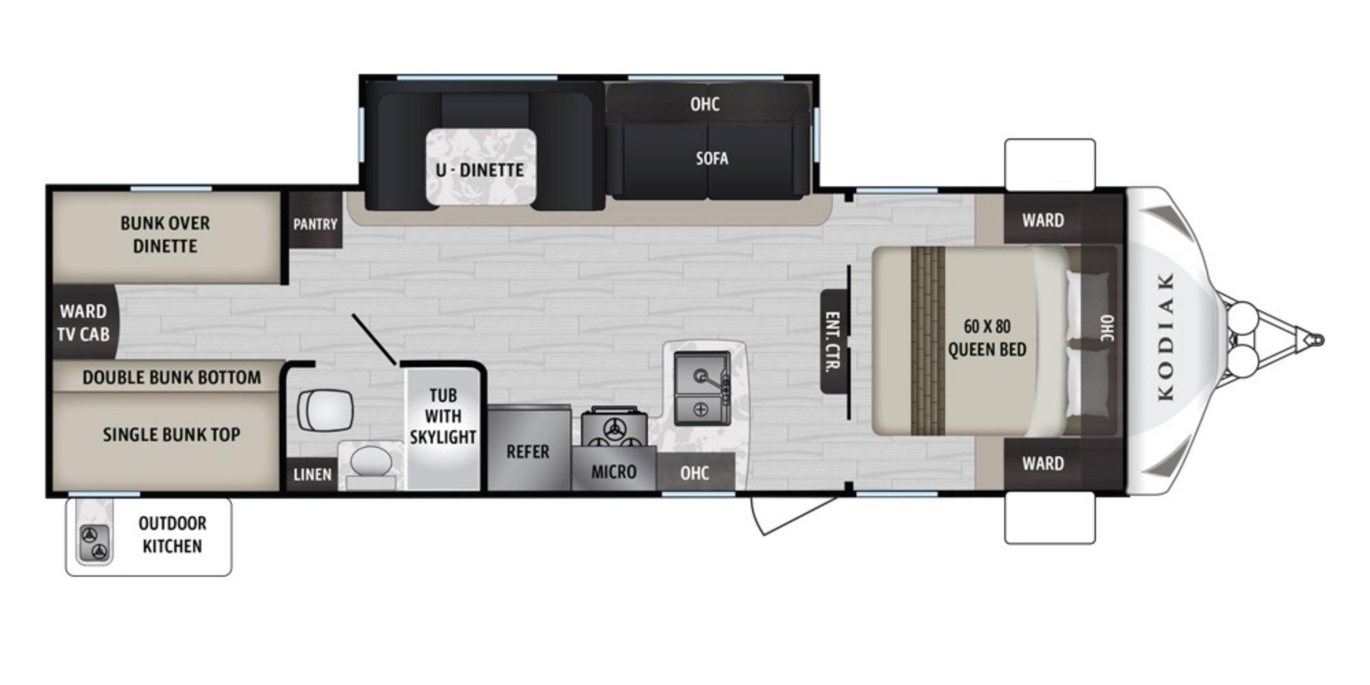 View Floor Plan for 2021 DUTCHMEN KODIAK 283BHSL