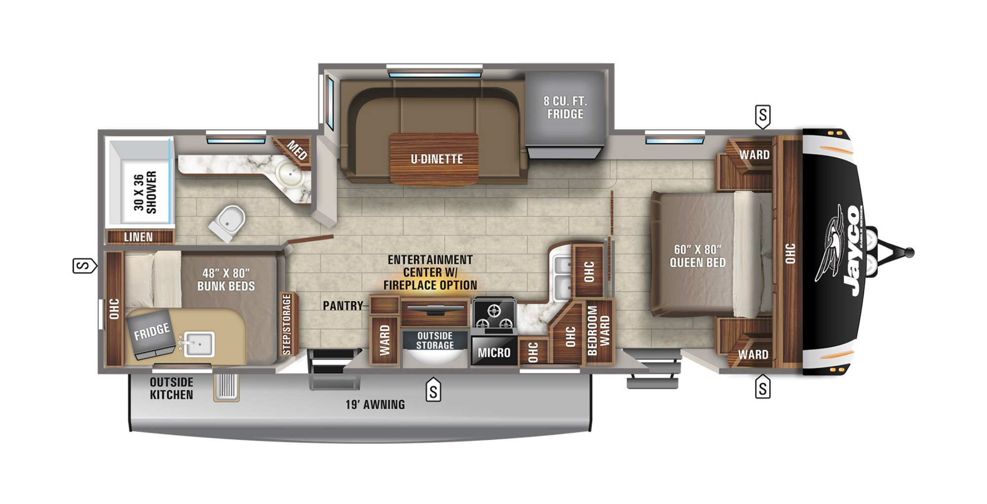 View Floor Plan for 2021 JAYCO EAGLE HT 264BHOK