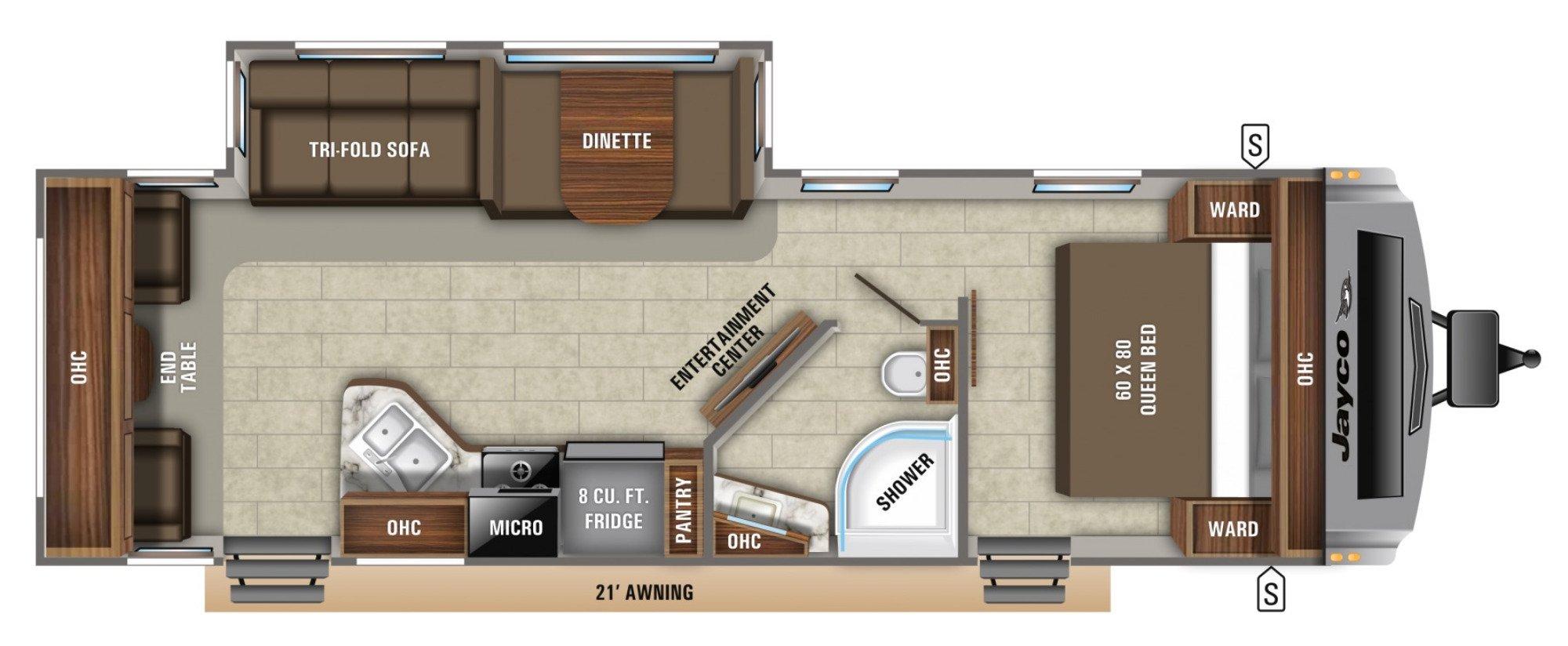 View Floor Plan for 2021 JAYCO WHITE HAWK 28RL