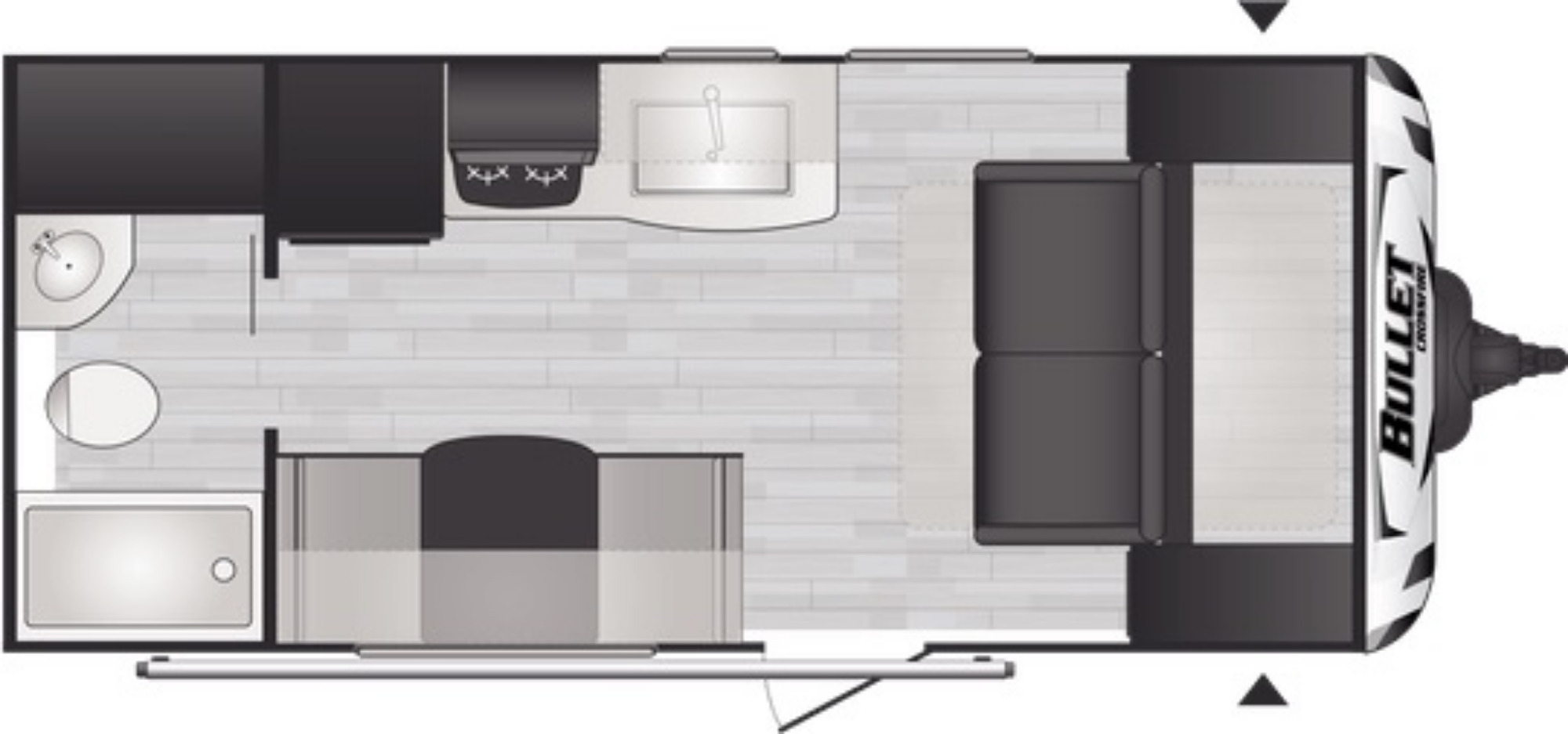 View Floor Plan for 2021 KEYSTONE BULLET CROSSFIRE 1800RB
