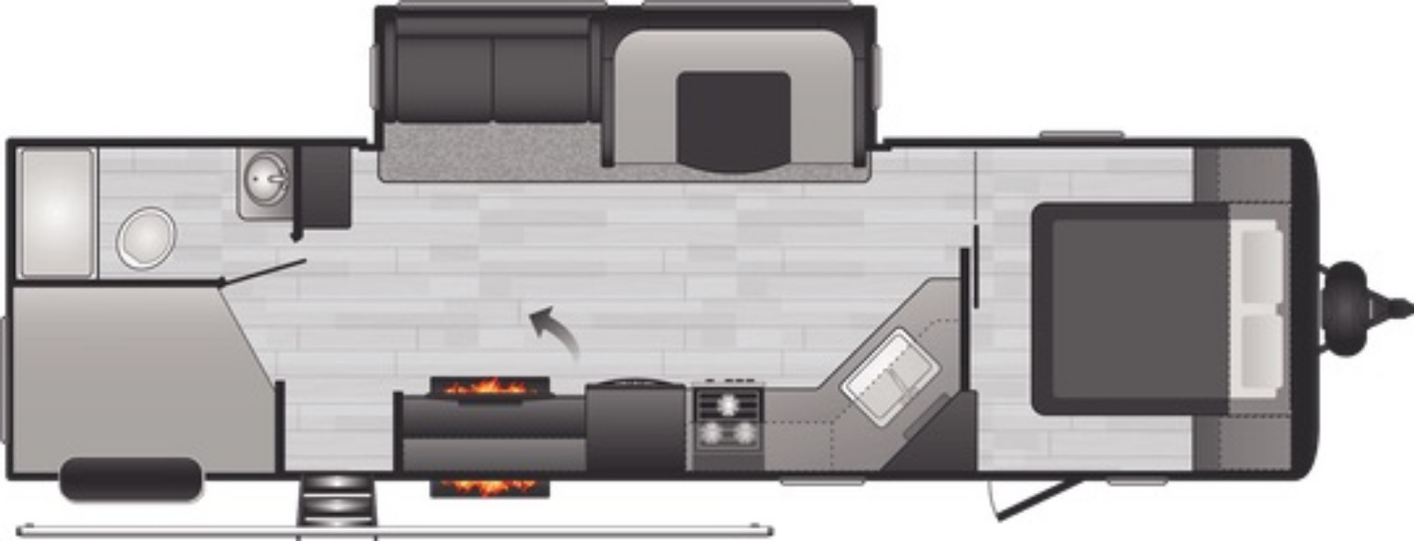 View Floor Plan for 2021 KEYSTONE HIDEOUT 29DFSWE