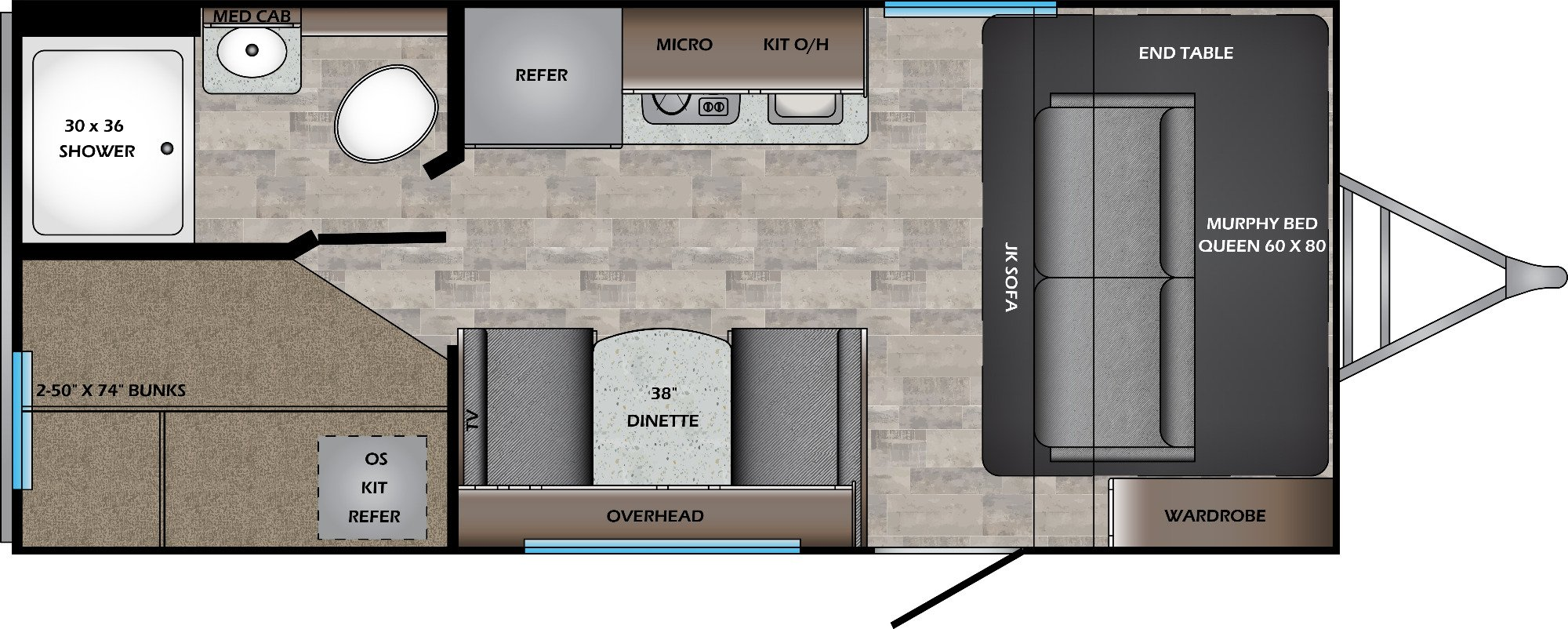 View Floor Plan for 2021 CROSSROADS SUNSET TRAIL 186BH