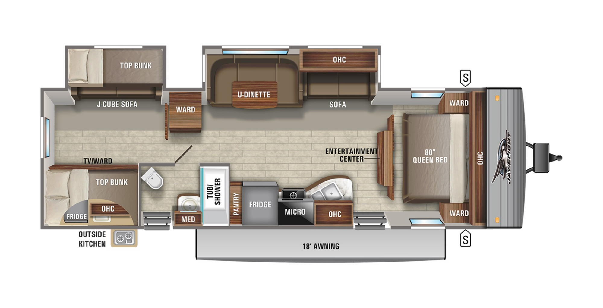 View Floor Plan for 2021 JAYCO JAY FLIGHT 32BHDS
