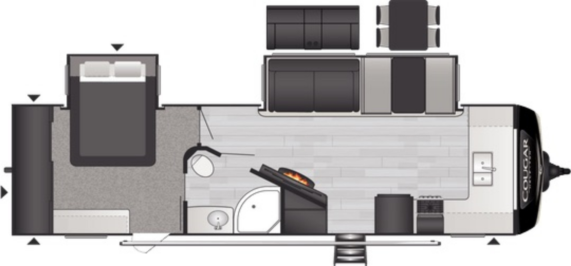 View Floor Plan for 2021 KEYSTONE COUGAR 29FKD