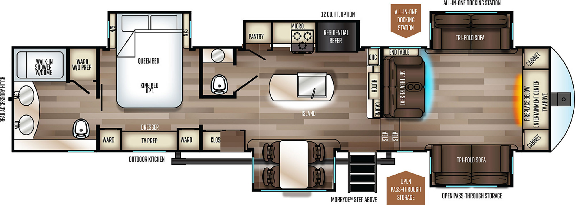 View Floor Plan for 2021 FOREST RIVER SABRE 37FLH