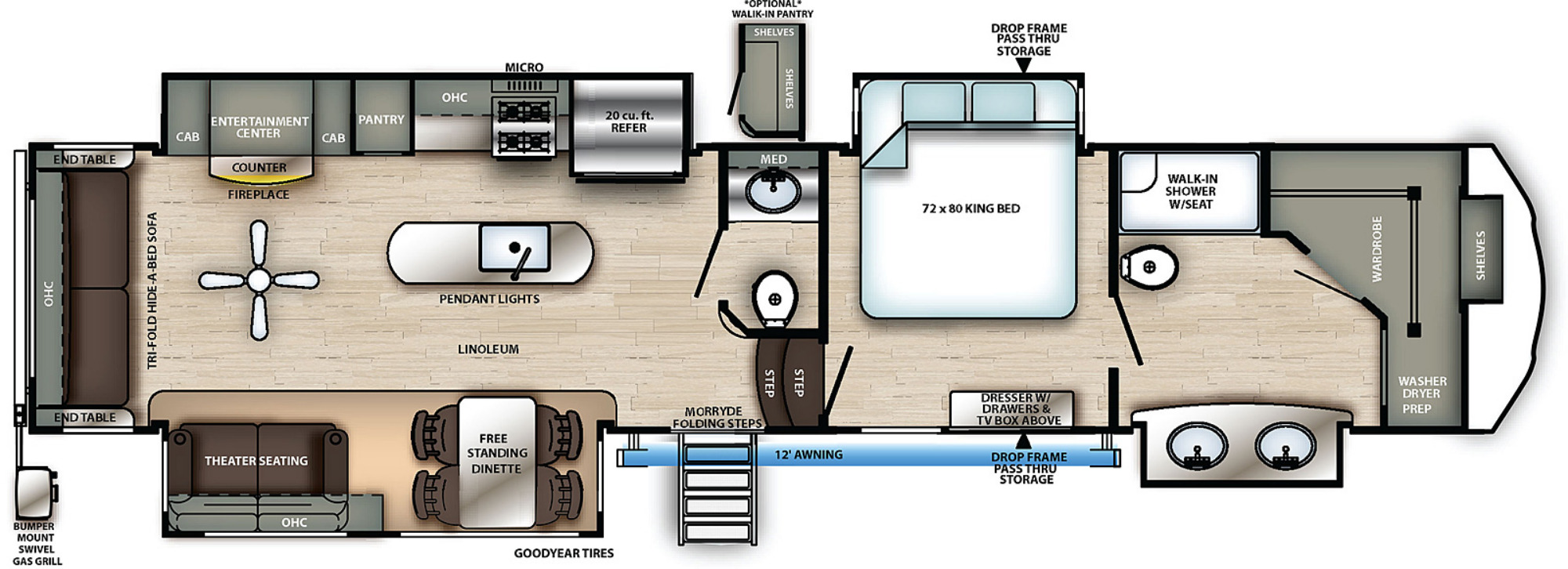 View Floor Plan for 2021 FOREST RIVER SIERRA 368FBDS