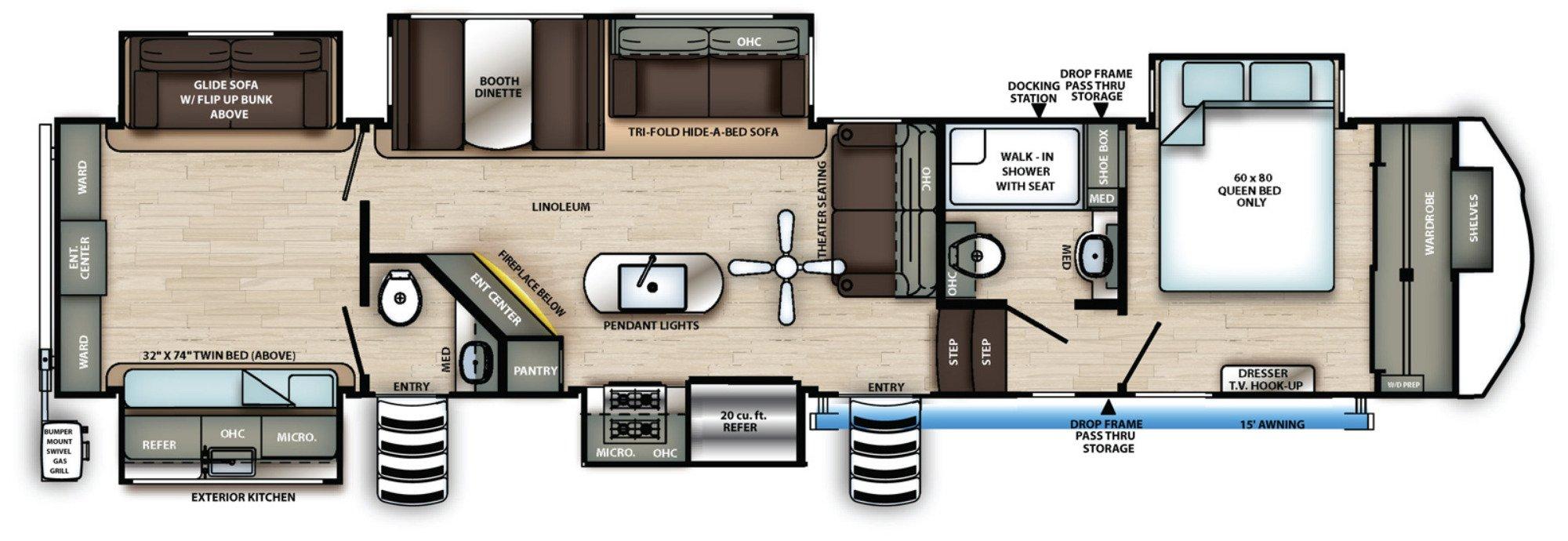 View Floor Plan for 2021 FOREST RIVER SIERRA 384QBOK
