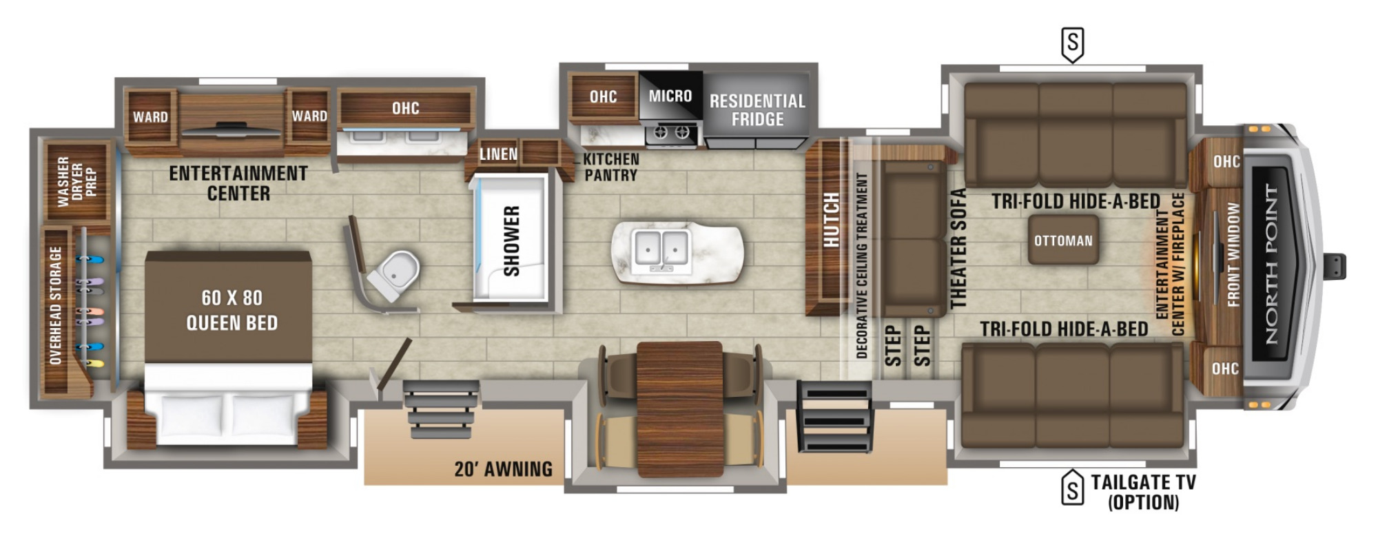 View Floor Plan for 2021 JAYCO NORTH POINT 381FLWS