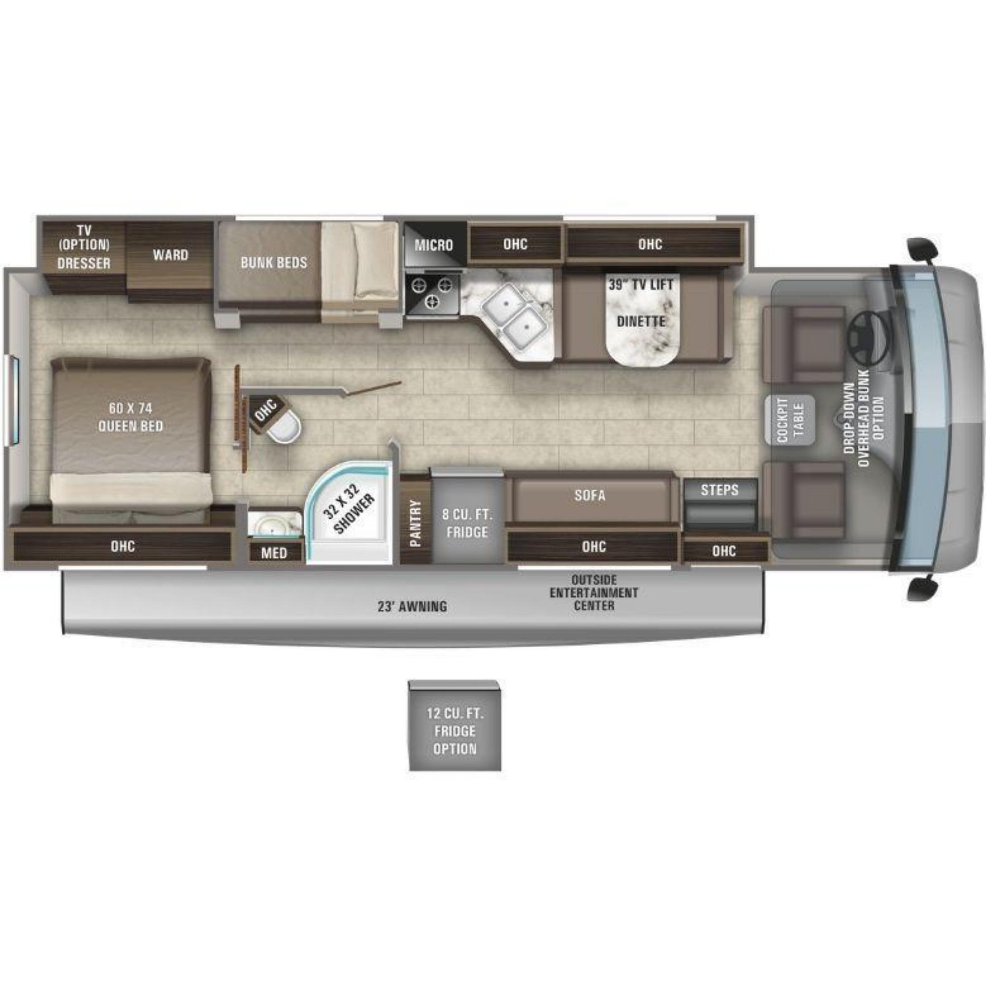 View Floor Plan for 2021 ENTEGRA COACH VISION 29F
