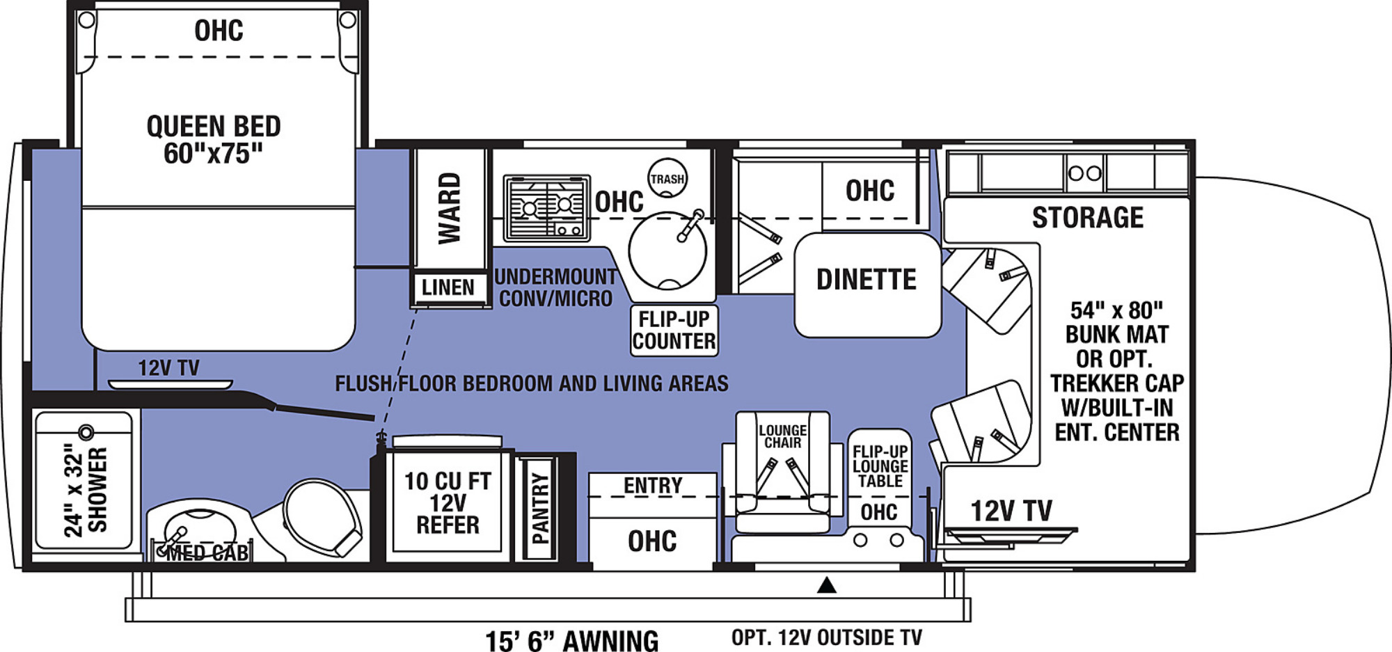 View Floor Plan for 2021 FOREST RIVER SUNSEEKER MBS 2400Q