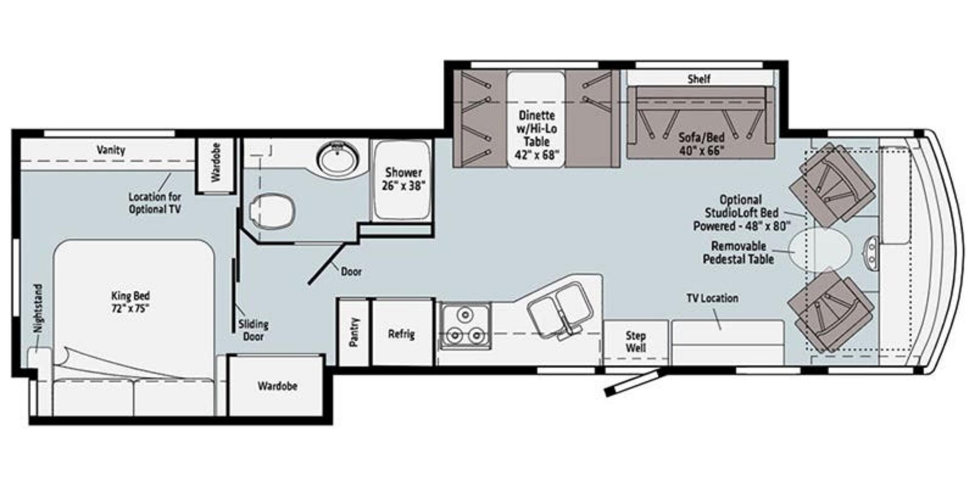 View Floor Plan for 2021 WINNEBAGO VISTA 35U