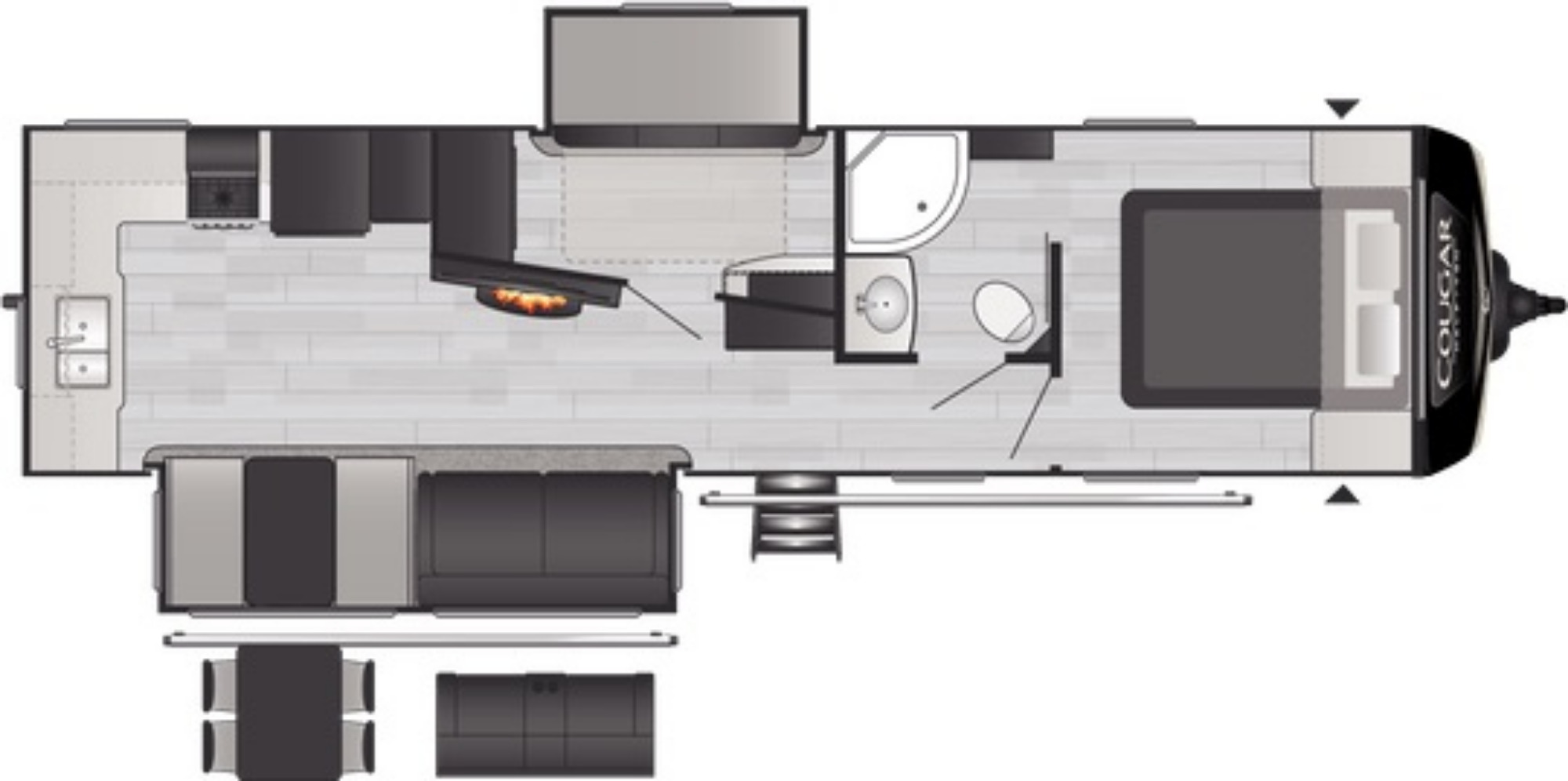 View Floor Plan for 2021 KEYSTONE COUGAR 31MBS