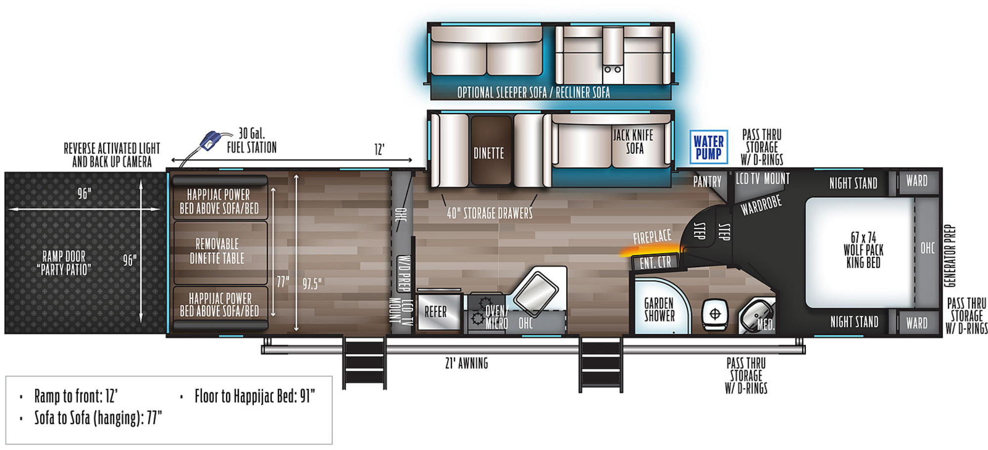 View Floor Plan for 2021 FOREST RIVER WOLF PACK 315PACK12