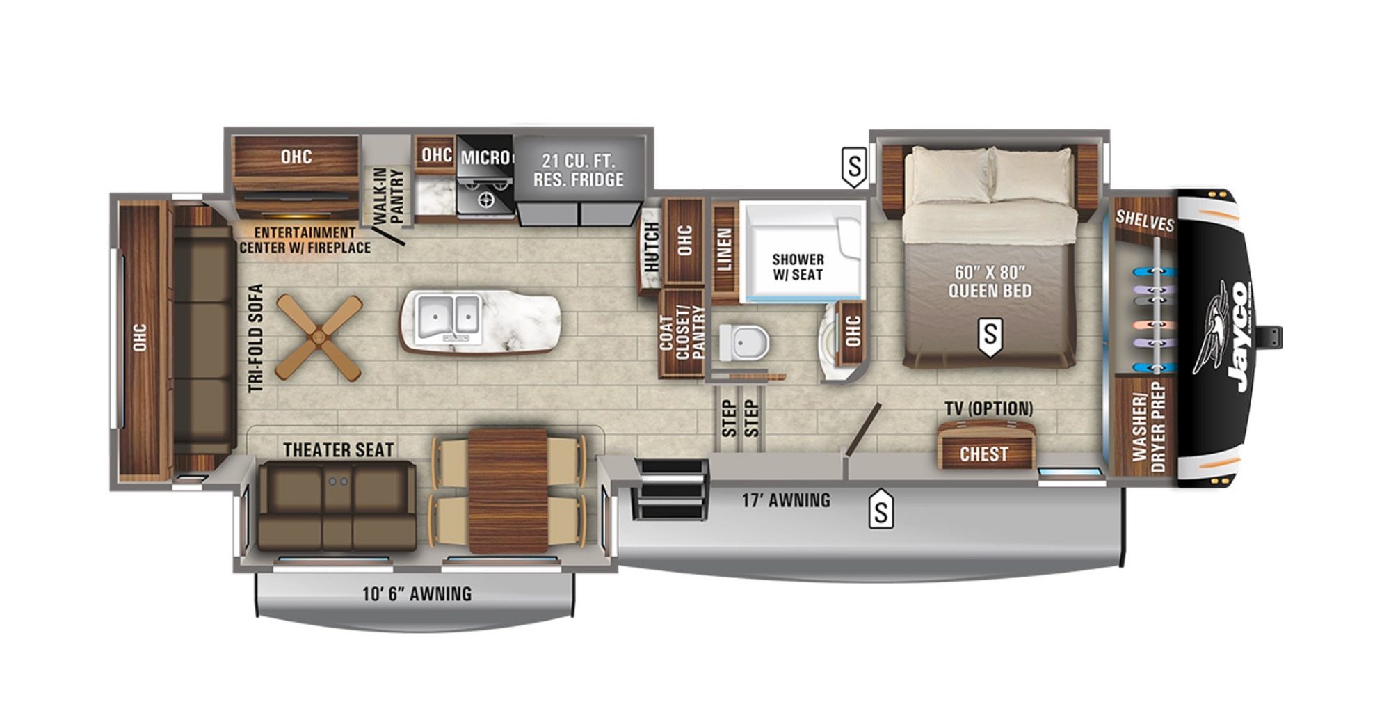 View Floor Plan for 2021 JAYCO EAGLE 321RSTS