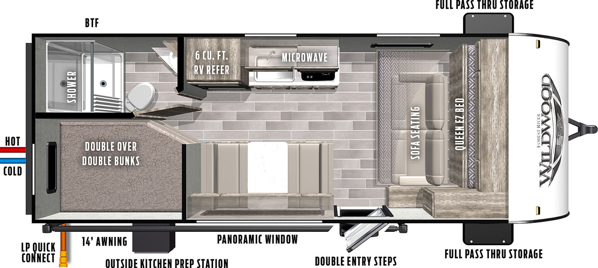 View Floor Plan for 2021 FOREST RIVER WILDWOOD FSX 179DBKX