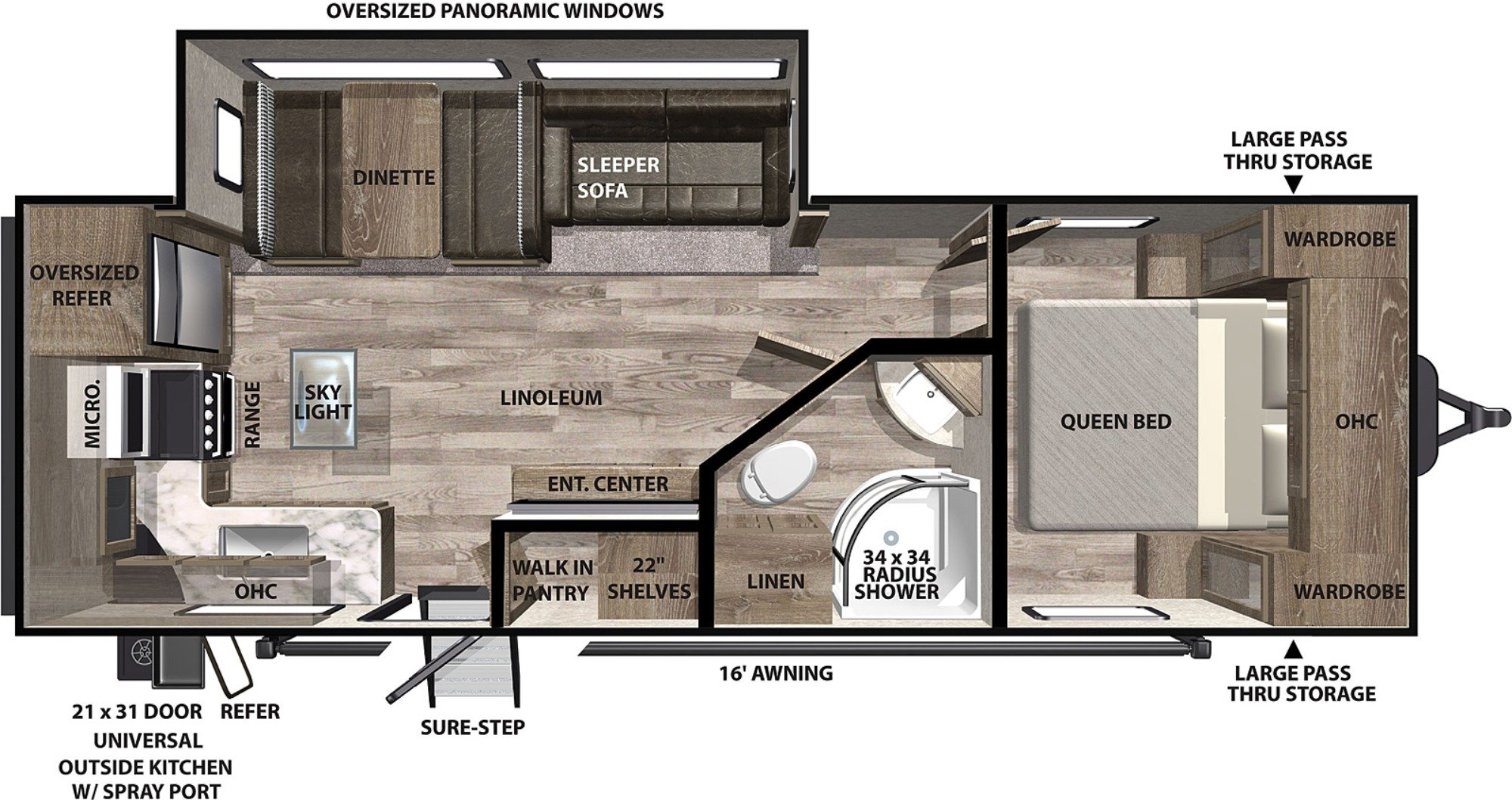 View Floor Plan for 2021 FOREST RIVER VIBE 25RK