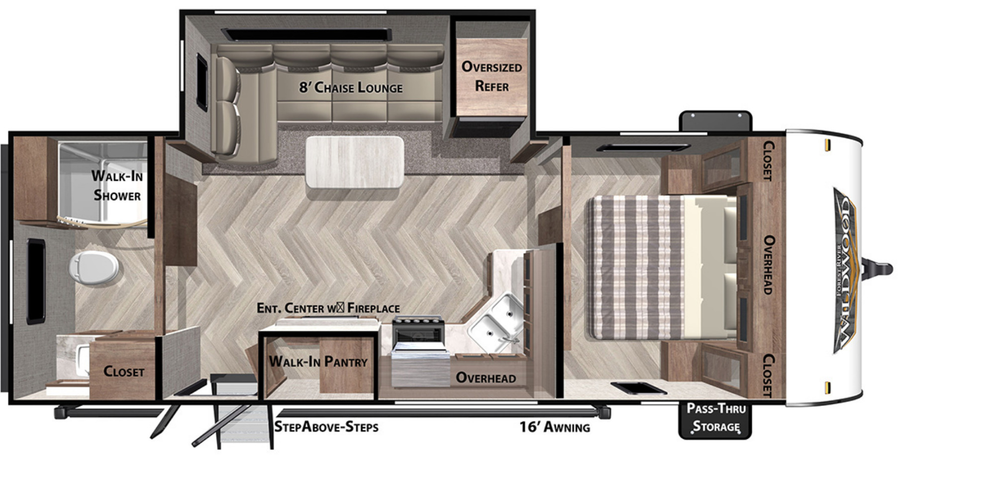 View Floor Plan for 2021 FOREST RIVER WILDWOOD 22RBS