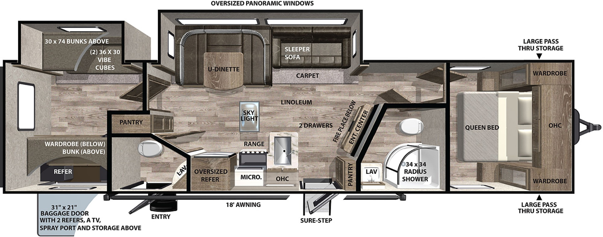 View Floor Plan for 2021 FOREST RIVER VIBE 32BH