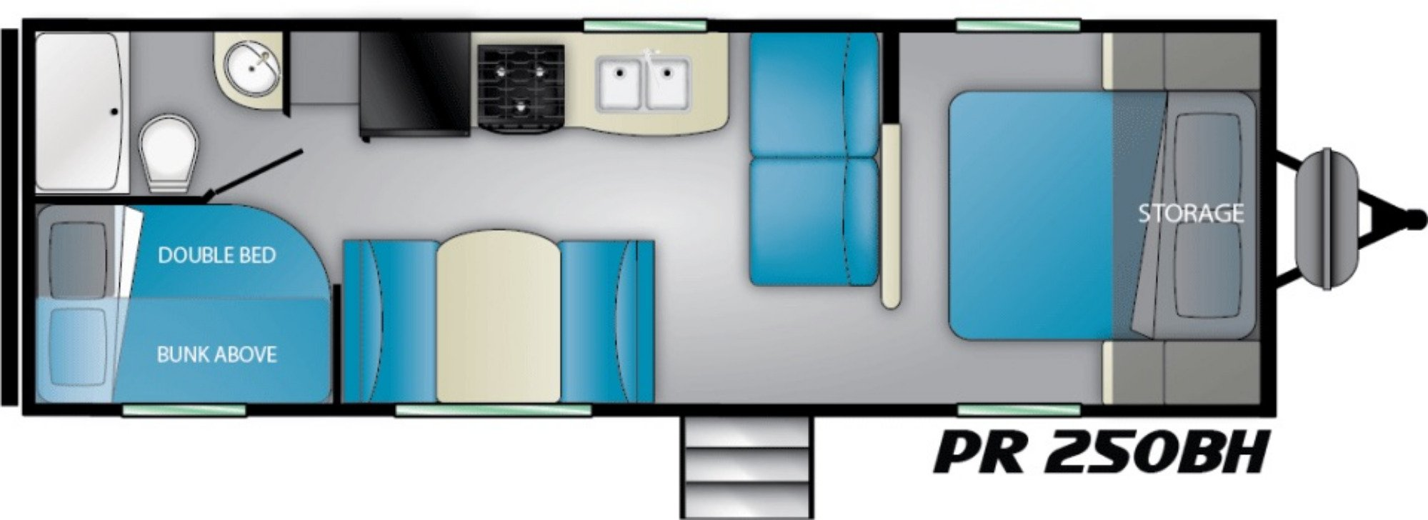 View Floor Plan for 2021 HEARTLAND PROWLER 250BH