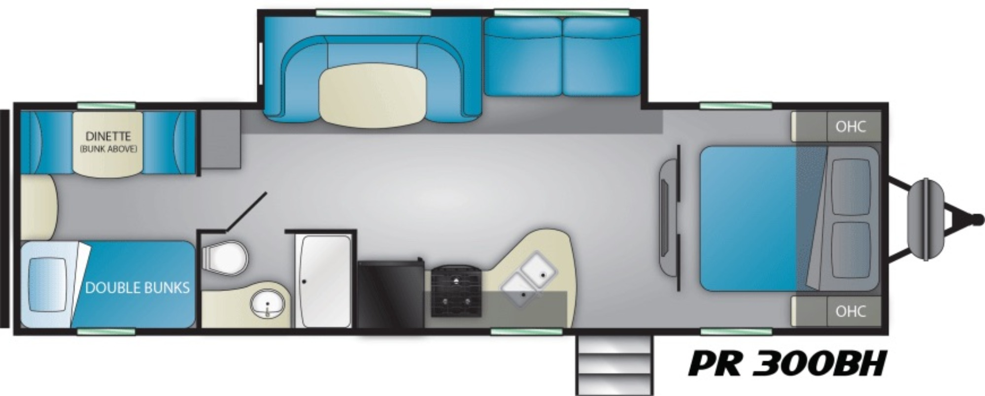 View Floor Plan for 2021 HEARTLAND PROWLER 300BH