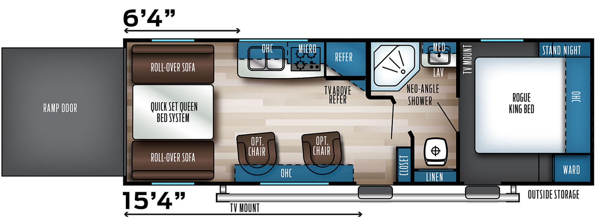 View Floor Plan for 2021 FOREST RIVER ROGUE 25V