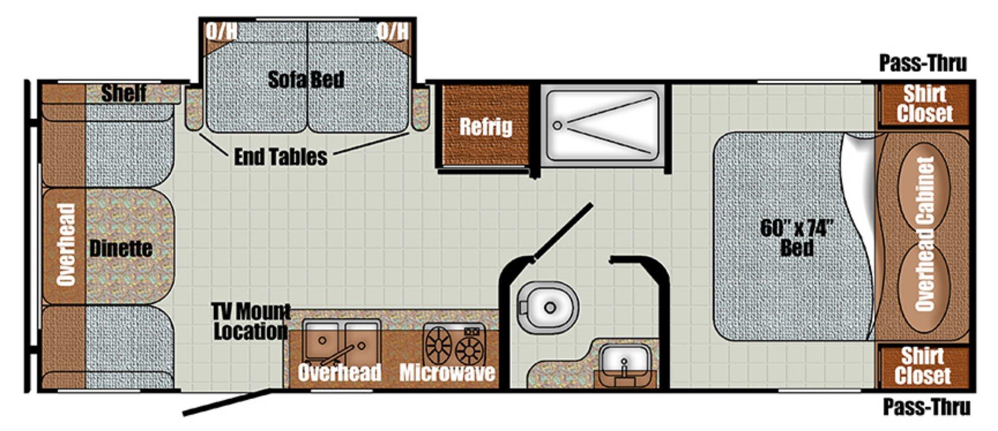 View Floor Plan for 2021 GULF STREAM VINTAGE CRUISER 23RSS