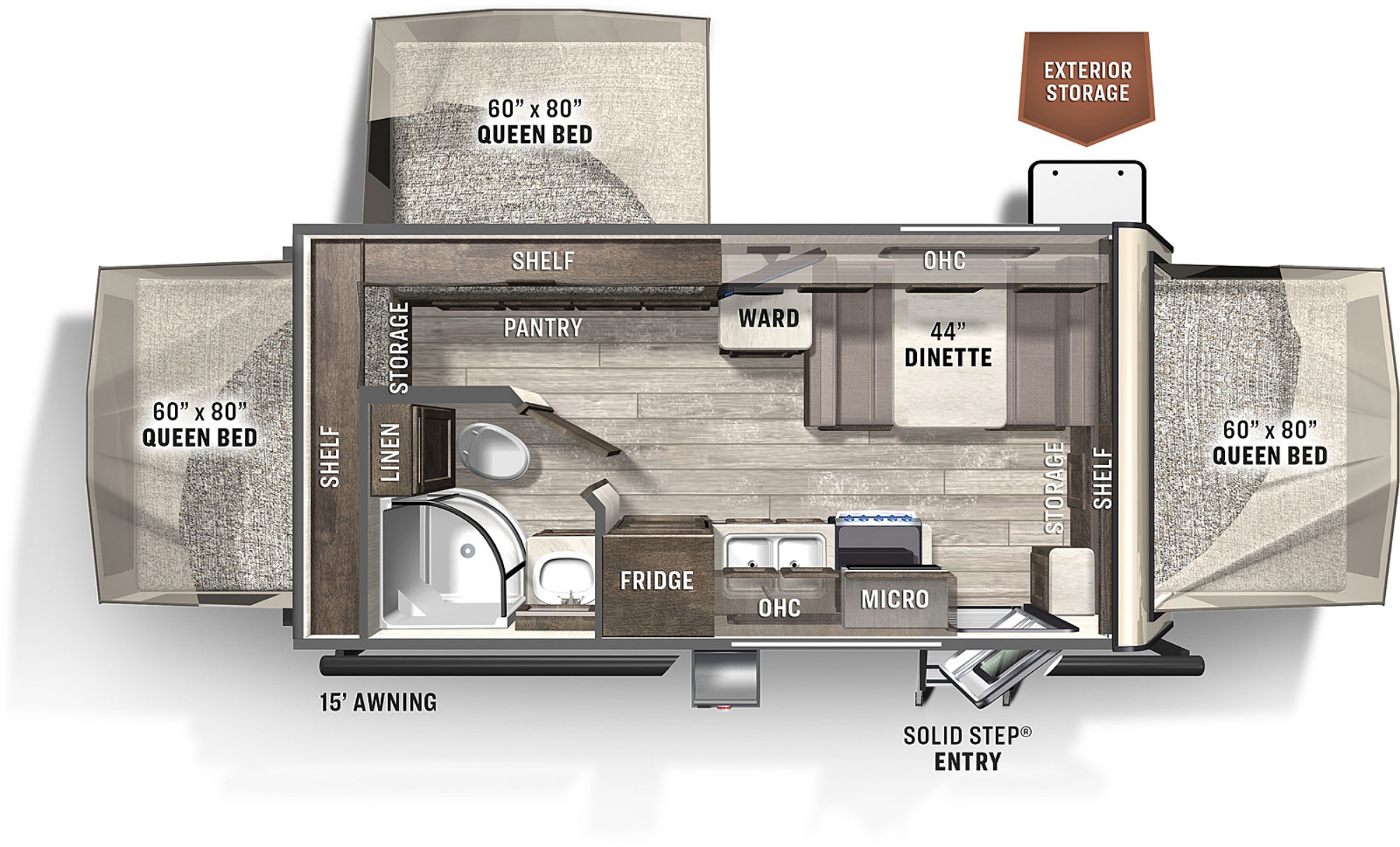 View Floor Plan for 2021 FOREST RIVER ROCKWOOD ROO 183