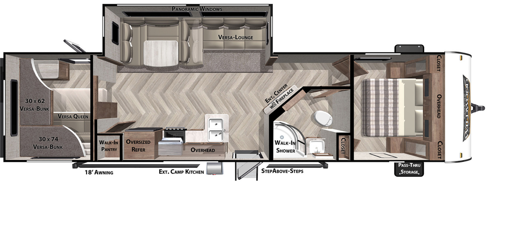 View Floor Plan for 2021 FOREST RIVER WILDWOOD 29VBUD