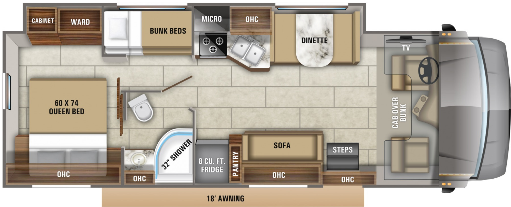 View Floor Plan for 2021 JAYCO REDHAWK 31F