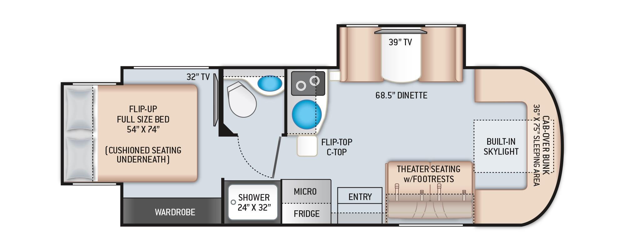 View Floor Plan for 2021 THOR DELANO 24RW
