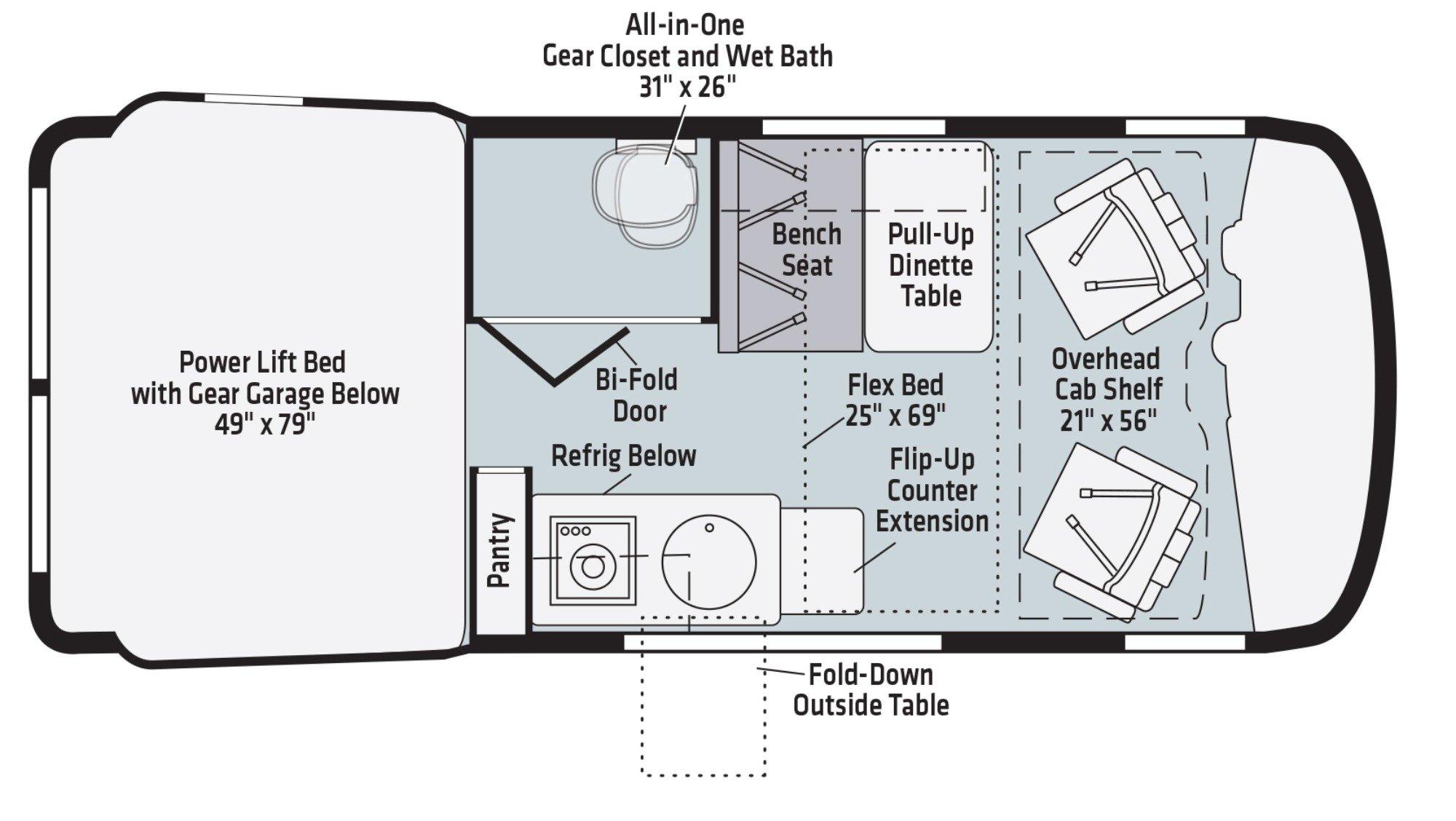 View Floor Plan for 2021 WINNEBAGO REVEL 44E