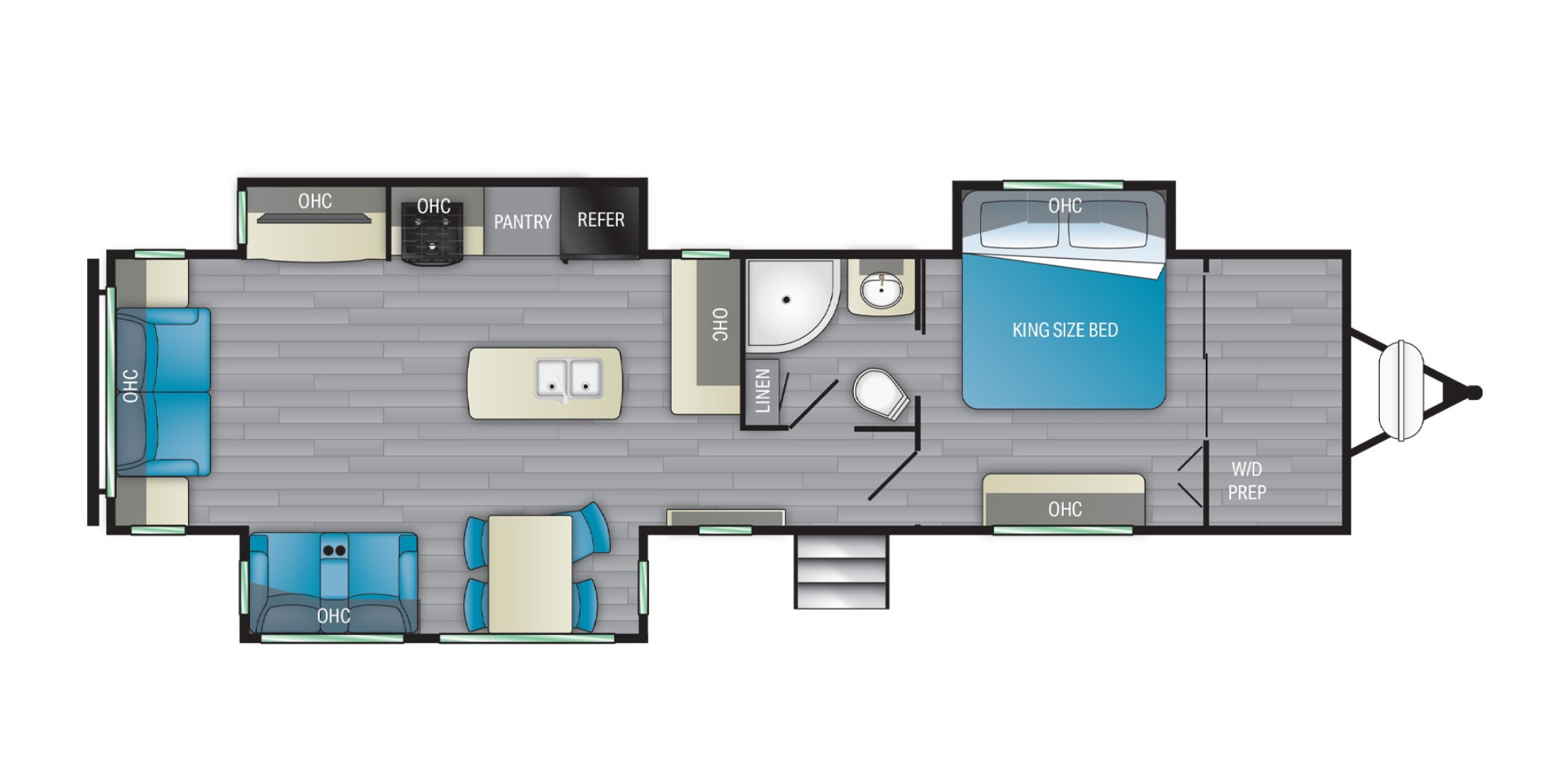 View Floor Plan for 2021 HEARTLAND NORTH TRAIL 33RETS
