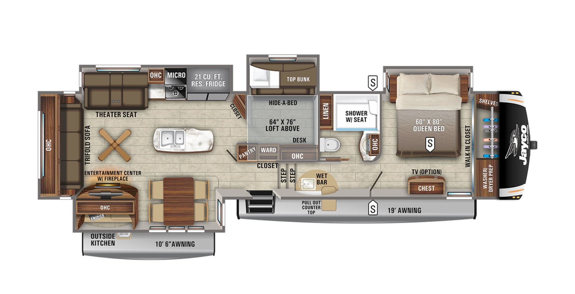 View Floor Plan for 2021 JAYCO EAGLE 357MDOK