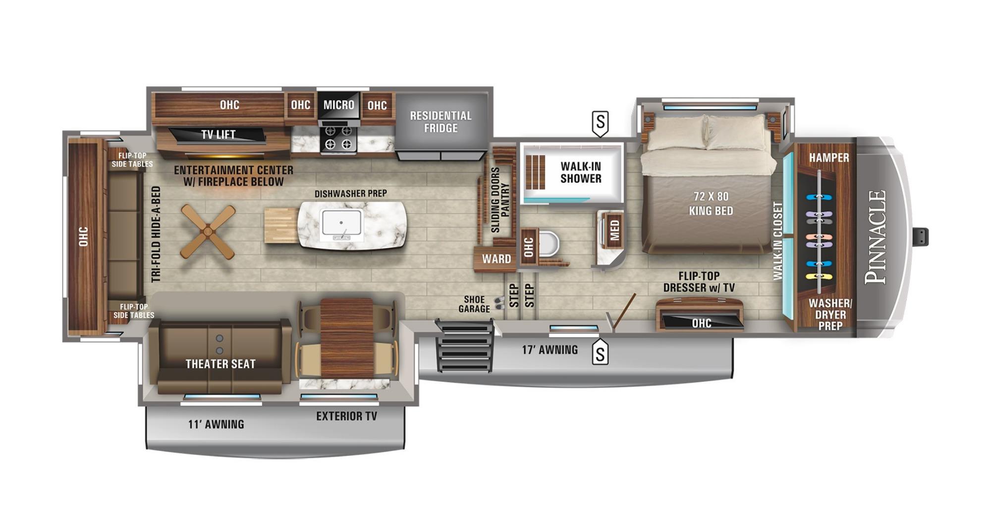 View Floor Plan for 2021 JAYCO PINNACLE 36KPTS