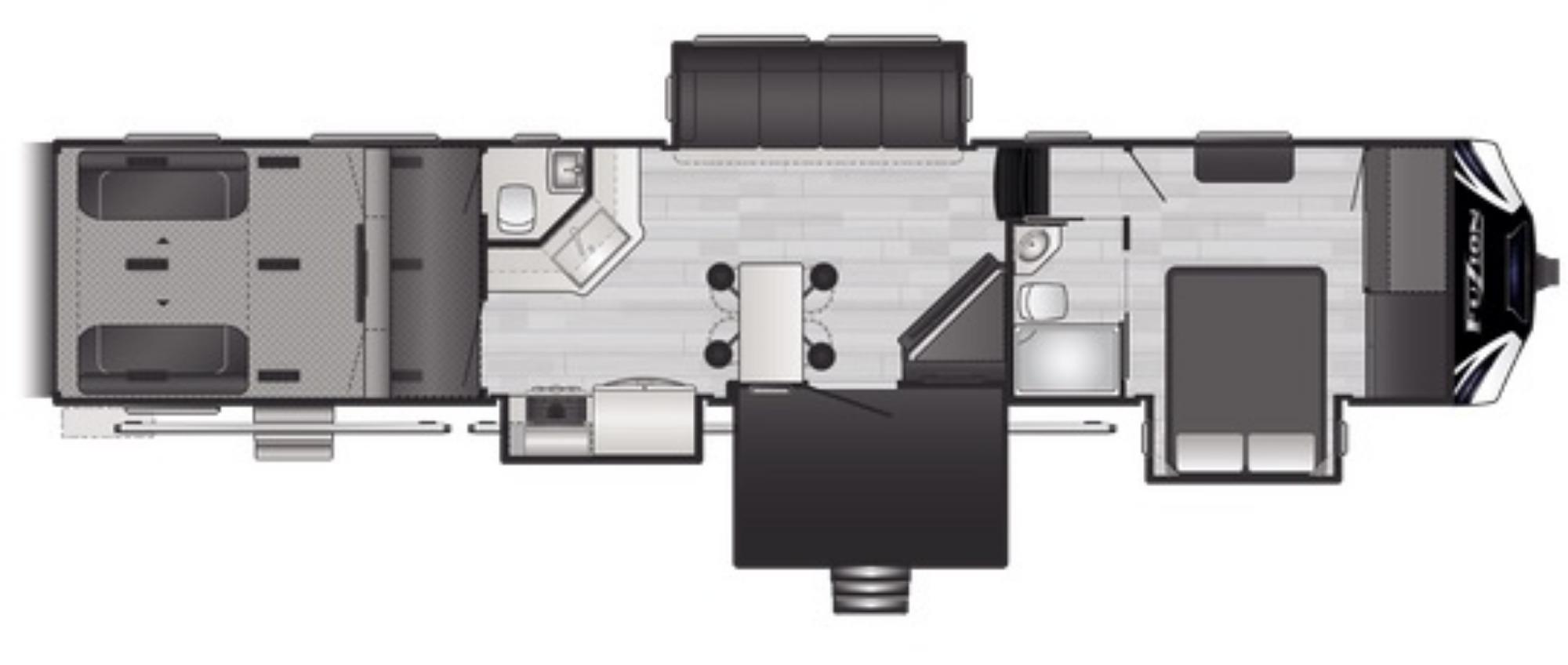 View Floor Plan for 2021 KEYSTONE FUZION 424
