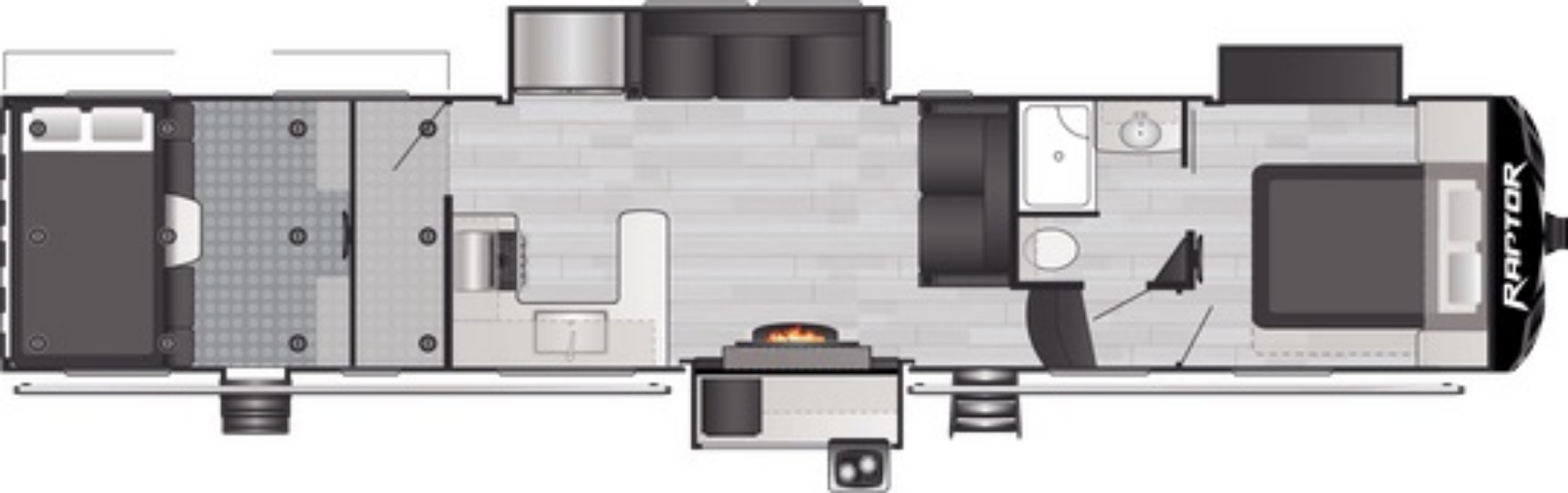 View Floor Plan for 2021 KEYSTONE RAPTOR 423