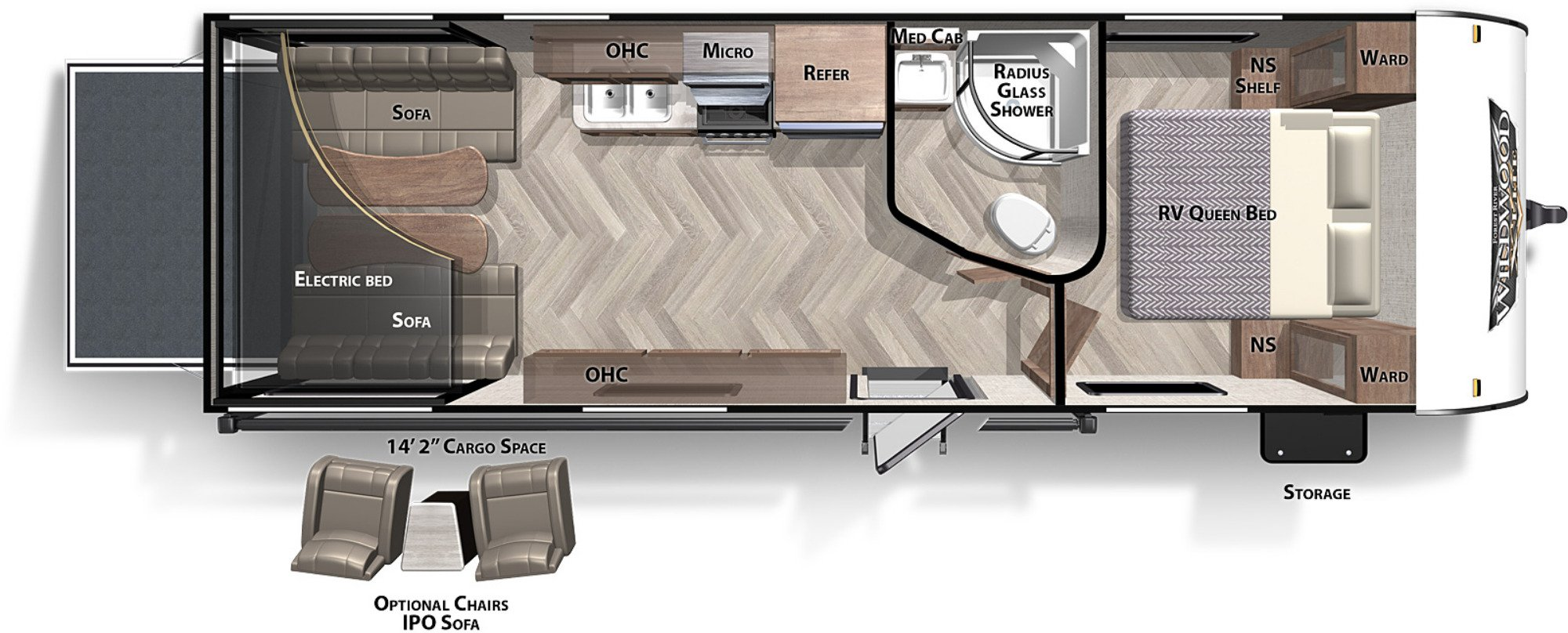 View Floor Plan for 2021 FOREST RIVER WILDWOOD X-LITE 251SSXLC