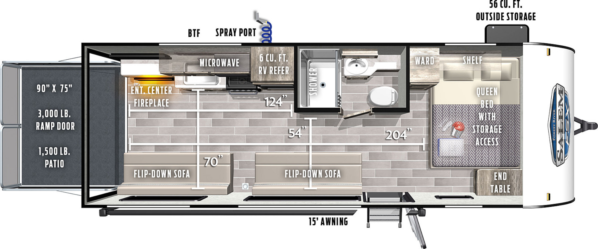 View Floor Plan for 2021 FOREST RIVER SALEM FSX 190RTX
