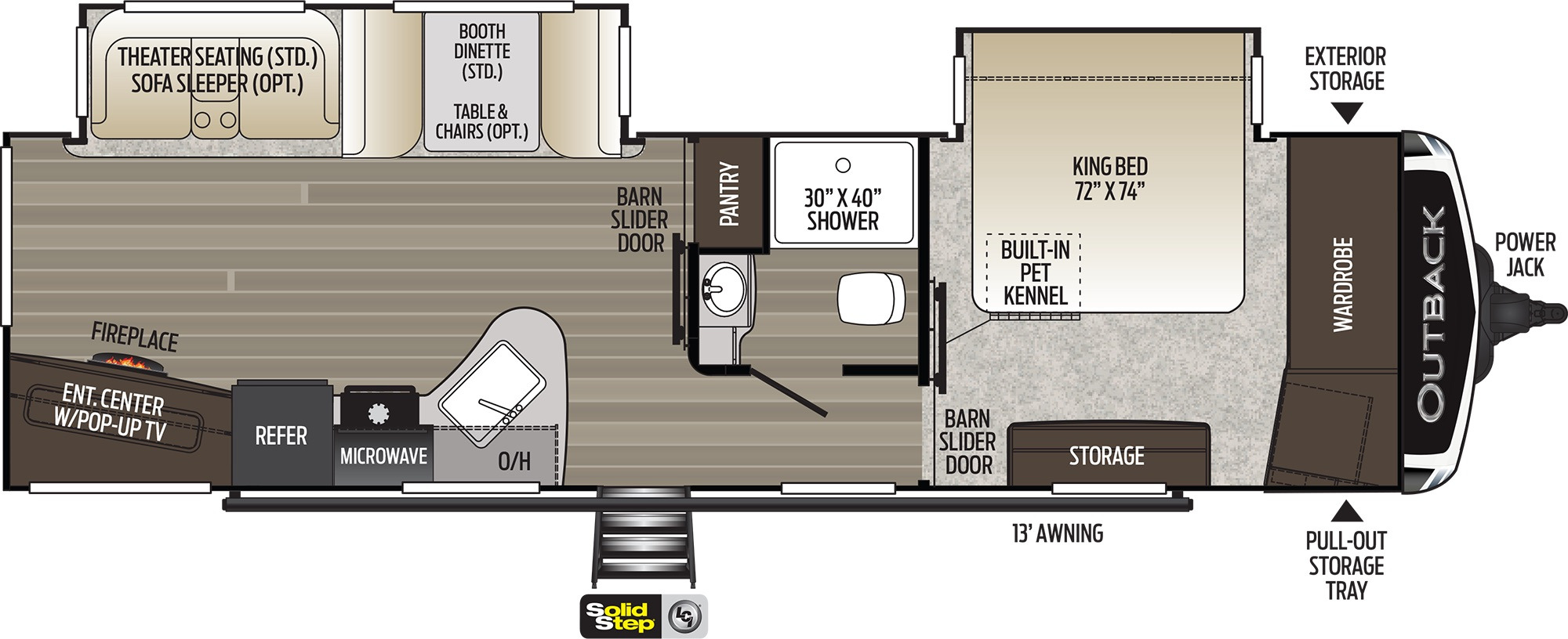 View Floor Plan for 2021 KEYSTONE OUTBACK 313RL