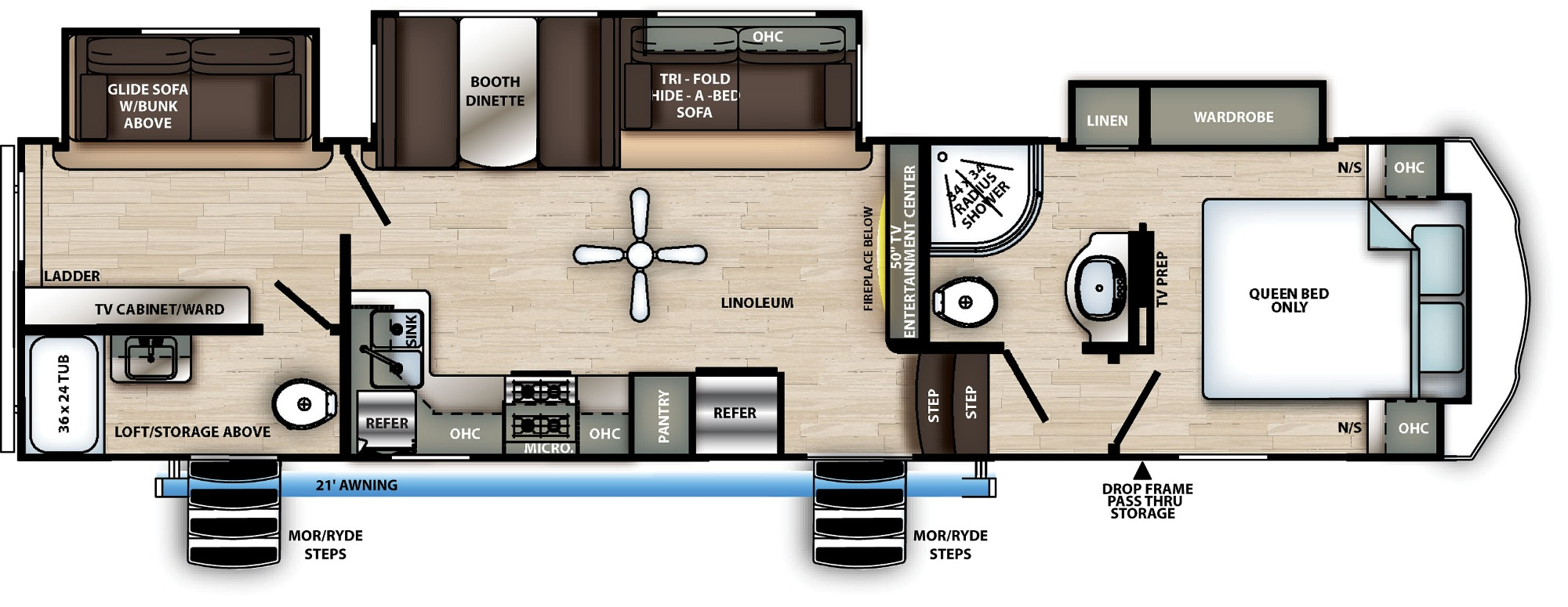 View Floor Plan for 2021 FOREST RIVER SIERRA C-CLASS 3330BH